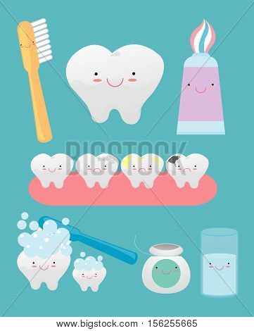 set of funny teeth consisting toothpaste, toothbrush, tooth, dental floss, mouthwash , on  background.Vector illustration.