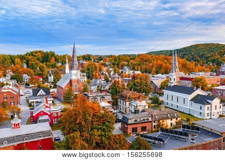 Burlington, Vermont, USA autumn town skyline.