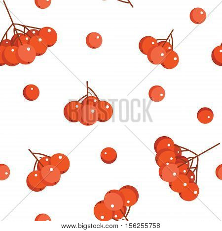 Winter Seamless Pattern With Rowan Berries. Vector Illustration On White Background.