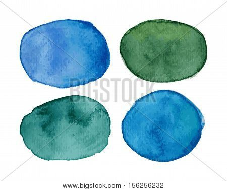 Vector blots with watercolor effect in green and blue palette. Multicolored stains with watercolor effect. Watercolor speech bubble. Watercolor text cloud. Watercolor textures isolated on white
