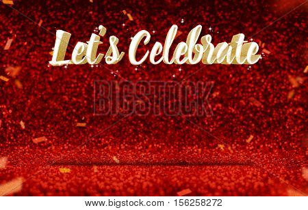 Let's Celebrate (3D Rendering) Gold Glitz At Perspective Red Sparkling Glitter With Gold Confetti,gr