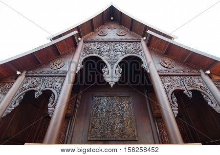 Beautiful wood carvings at wat Somdej Phurua Ming Muang Loei province Thailand