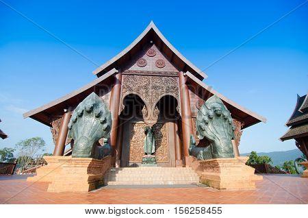 Wat Somdej Phurua Ming Muang : The Beautiful wooden buddhist temple in Phurua Loei Thailand.
