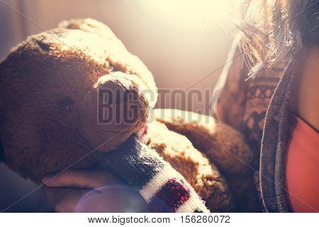Woman Teddy Bear Loveable Toy Concept