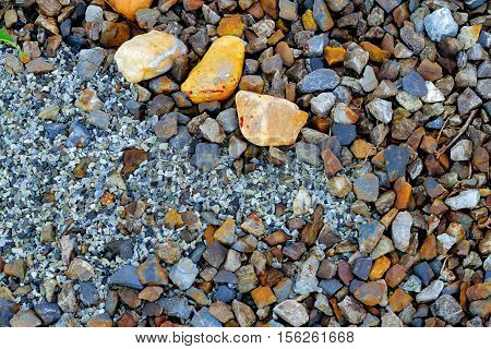 gravel aggregate on ground texture  abstract background .