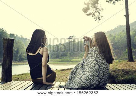 People Friendship Hangout Traveling Destination Camera Concept