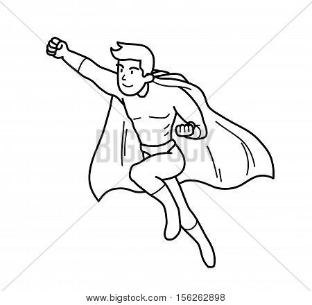 Super Hero Power Man Cartoon Doodle. A hand drawn vector illustration of a flying man with super power.