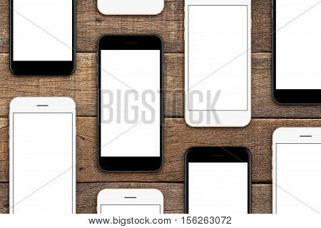 phone set on wood table mock-up phone set blank screen for app
