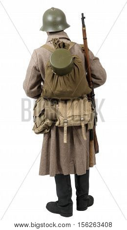 young Soviet soldier with winter uniform wwii; isolated on the white background