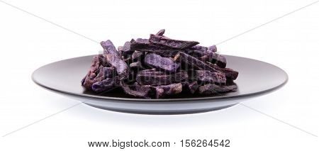 Dish Of Fried Taro Chips, Taro Snacks Isolated On White Background