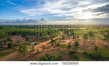 Aerial view sunset nature sky landscape background.