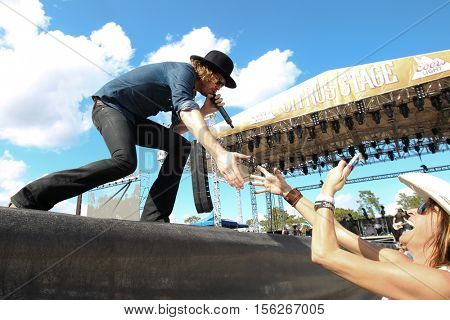 LAKE WALES, FL-NOV 5: Michael Hobby of A Thousand Horses performs at the CountryFlo Music and Camping Festival on November 5, 2016 in Lake Wales, Florida.