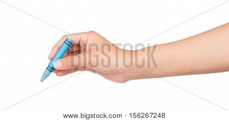 Hand Holding Blue Crayon Isolated On White Background