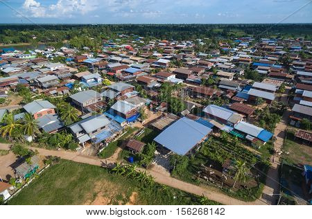 aerial view landscape country village thailand .