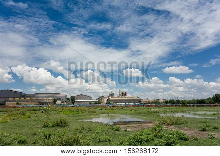 old factory with blue sky landscape .