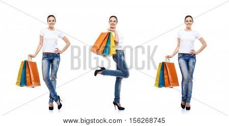 Young, attractive and happy shopping girl with bright shopping bags isolated on white. Set collection.