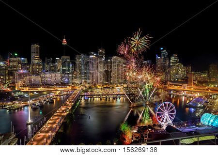 Sydney, Australia - November 12, 2016 : Fireworks At Darling Harbour, Adjacent To The City Center Of