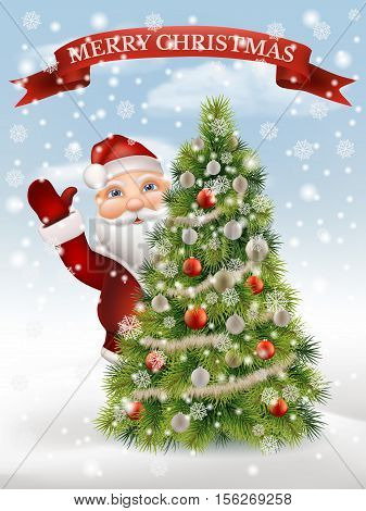 Santa Claus peeking out of a decorated christmas tree and welcomed on the background of a winter landscape. Christmas character, vector illustration.