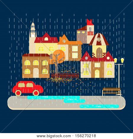 Autumn weather colorful landscape banner. Its rainy. Small town landscape in flat style. Vector illustration