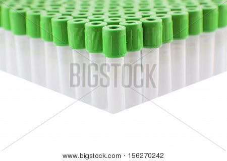 Heparin Blood sample tube, Blood collection tube for laboratory isolated on white background (have clipping path)