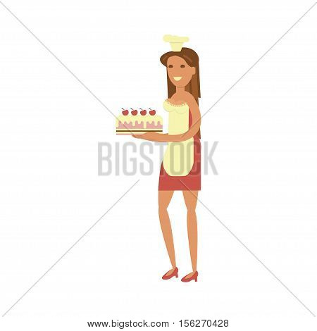 Confectioner cartoon character with cake. Pastry-cook female in Flat design. Vector illustration.