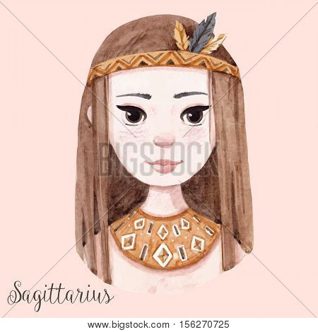 Beautiful watercolor hand drawn girl as a symbol of horoscope sign sagittarius