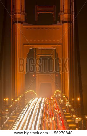 The Golden Gate Bridge View Close-up at night in San Francisco, California, USA