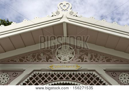 AYUTTHAYA, THAILAND - November 4, 2016: Detail of Keng Boo-Pah Pra-Paht a little and charming structure in the grounds of the Bang Pa-in Palace compound Thailand