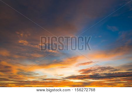Beautiful Color Sunset Sky For Background Web Design Or Backdrop Design, Sky, Bright Blue, Orange An