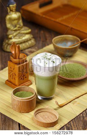 Matcha Tea Latte In Glass