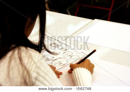 Girl Drawing Manga