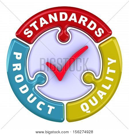 Product quality standards. The check mark in the form of a puzzle. The inscription
