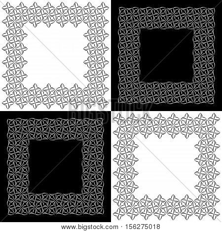 Set of four square lacy frames with stylized four-petal floral motifs for border design. Vector ornamental background with place for text. Graphic design elements. poster