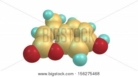 Hymecromone is a drug used in bile therapy. It is used as choleretic and antispasmodic drugs and as a standard for the fluorometric determination of enzyme activity. 3d illustration