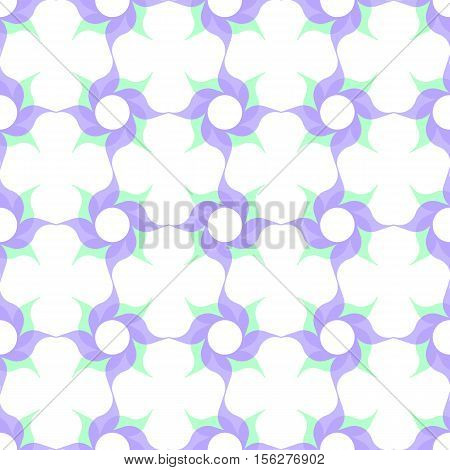 Trellis pattern of semitransparent violet twirled flowers with leaves on white background. Vector seamless repeat.