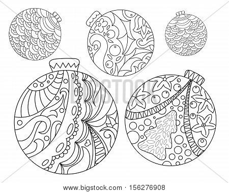 Coloring page with Christmas tree ornaments. Christmas fir tree ornament adult coloring page. Holiday coloring page with Christmas or New Year doodle decor. Vector coloring card for winter holidays