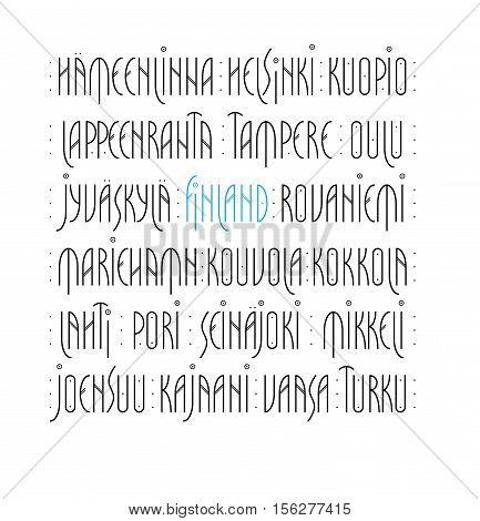 Lettering set of Finland s main cities names in Nordic art deco style. Vector illustration. poster