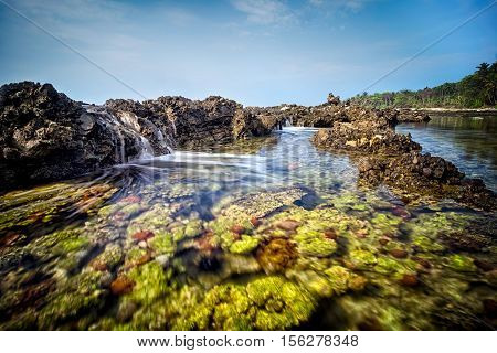 Seascape scenery of beautiful green coral formation during mid day at Sawarna beach Banten Indonesia. Soft focus during long exposure shot.