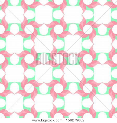 Trellis pattern of semitransparent pink twirled flowers with leaves on white background. Vector seamless repeat.