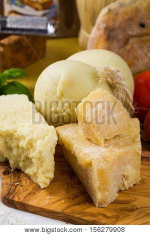 Best Italian food - fresh caciocavallo pecorino pamesane cheese and tomatoes