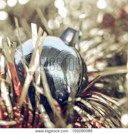 Vintage Looking Bauble And Tinsel