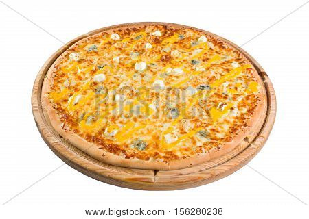 pizza with mushrooms on wooden board. for a directory or menu.