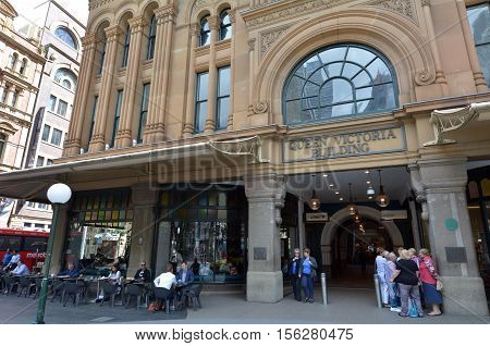 SYDNEY - OCT 20 2016:Queen Victoria Building facade. It's a very famous city mall and a major tourist attraction in Sydney New South Wales Australia.