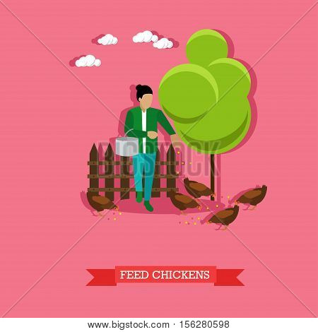 Farmer feeds the chickens on backyard with metal bucket in the hand. Farming, animal breeding. Vector illustration in flat design.