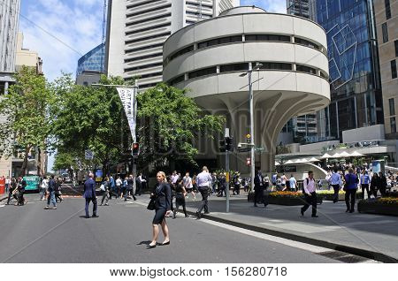 SYDNEY - OCT 18 2016: Traffic on Martin Place a pedestrian mall in the central business district of Sydney New South Wales Australia.