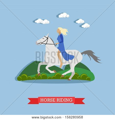 Blonde girl in blue dress, holding stirrup, riding a white horse bareback. Vector illustration in flat design. Side view