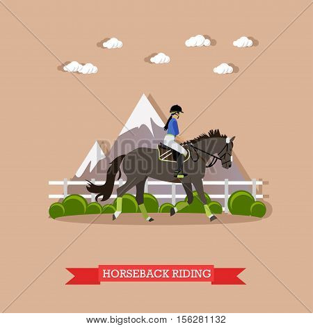 Young girl jockey riding horse in the saddle with helmet and hold bridle. Horse dressage, doing exercise and showing skills. Side view, vector illustration in flat design style