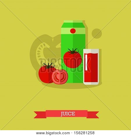 Vector illustration of juice carton, glass full of tomato juice and fresh ripe tomato and tomato slices. Popular nonalcoholic beverage with refreshing sour, salty, sweet taste. Flat design