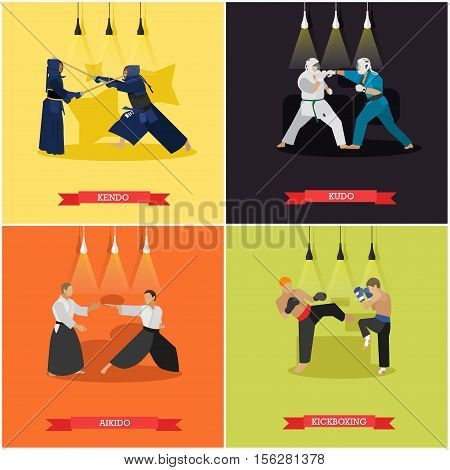 Vector set of martial arts. Kendo, kudo, aikido and kickboxing. Fighters in sport positions.Flat design.