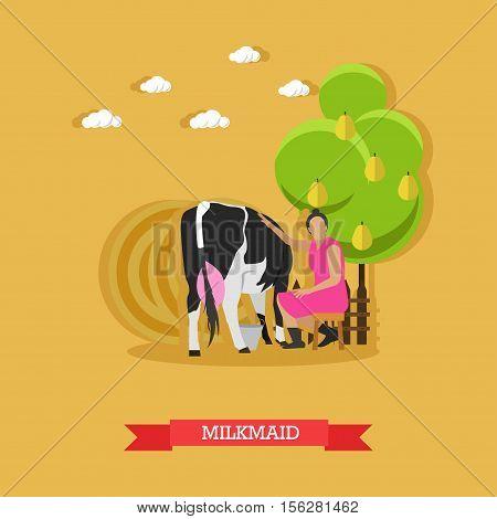 Milkmaid milking a cow, sitting on a stool under a fruit tree, metal bucket near. Cattle breeding, farming. Vector illustration in flat design